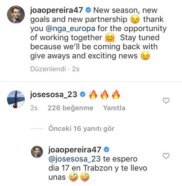 Pereira paylaşımının altına yorum yazan Sosa'ya cevap verdi.
