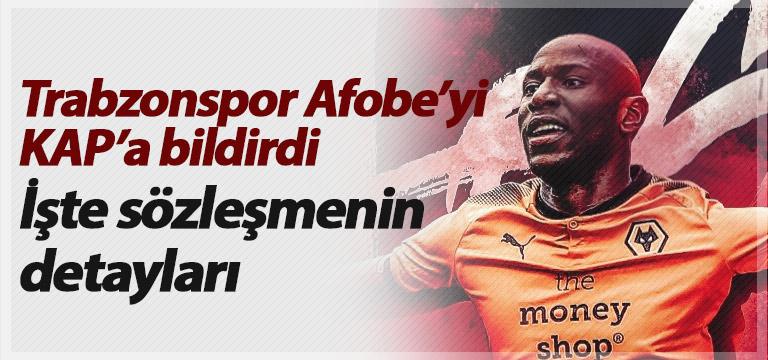 Trabzonspor Afobe'yi KAP'a bildirdi