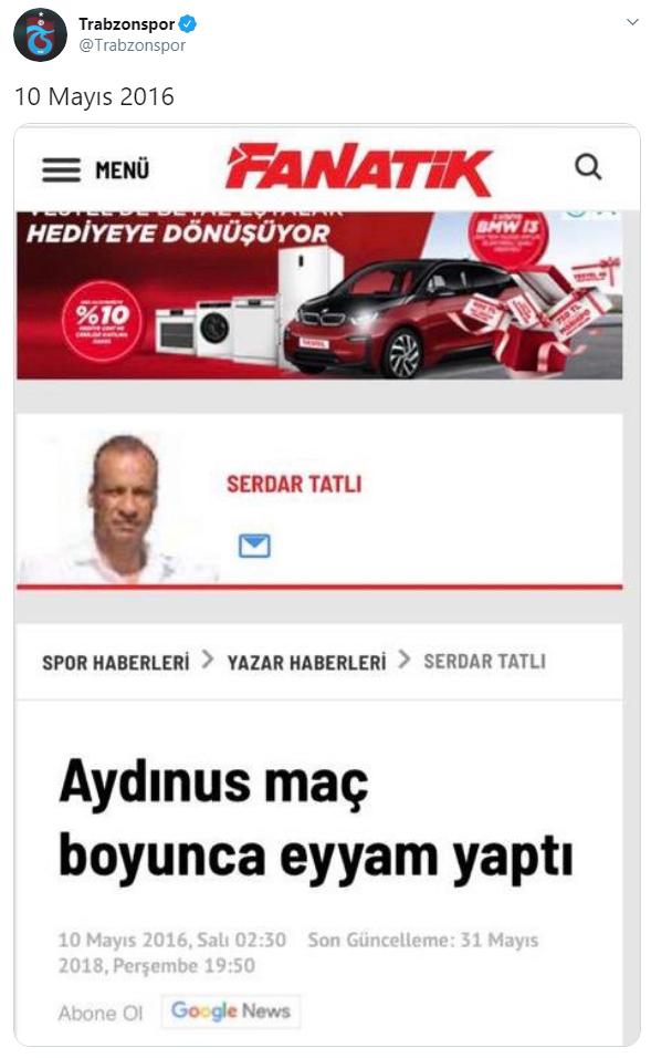 Trabzonspor'dan Flaş paylaşım! Serdar Tatlı - Fırat Aydınus...